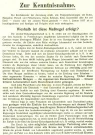 """Kunstkarte Plakat /""""Verordnung über die Einschränkung des Kuchenbackens/"""" 1915"""